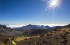 Couple hiking in Haleakala Crater, Maui