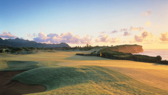 Poipu Bay Golf course 16th fairway at sunset, Kauai, Hawaii