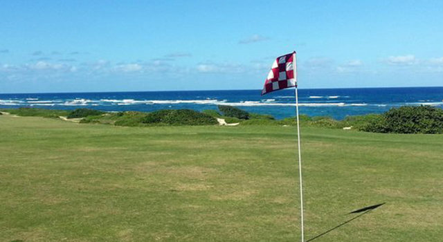 Kahuku Golf Course with ocean in the background