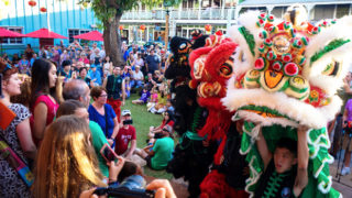 Lion dance at Chinese New Year celebration in Lahaina, Maui